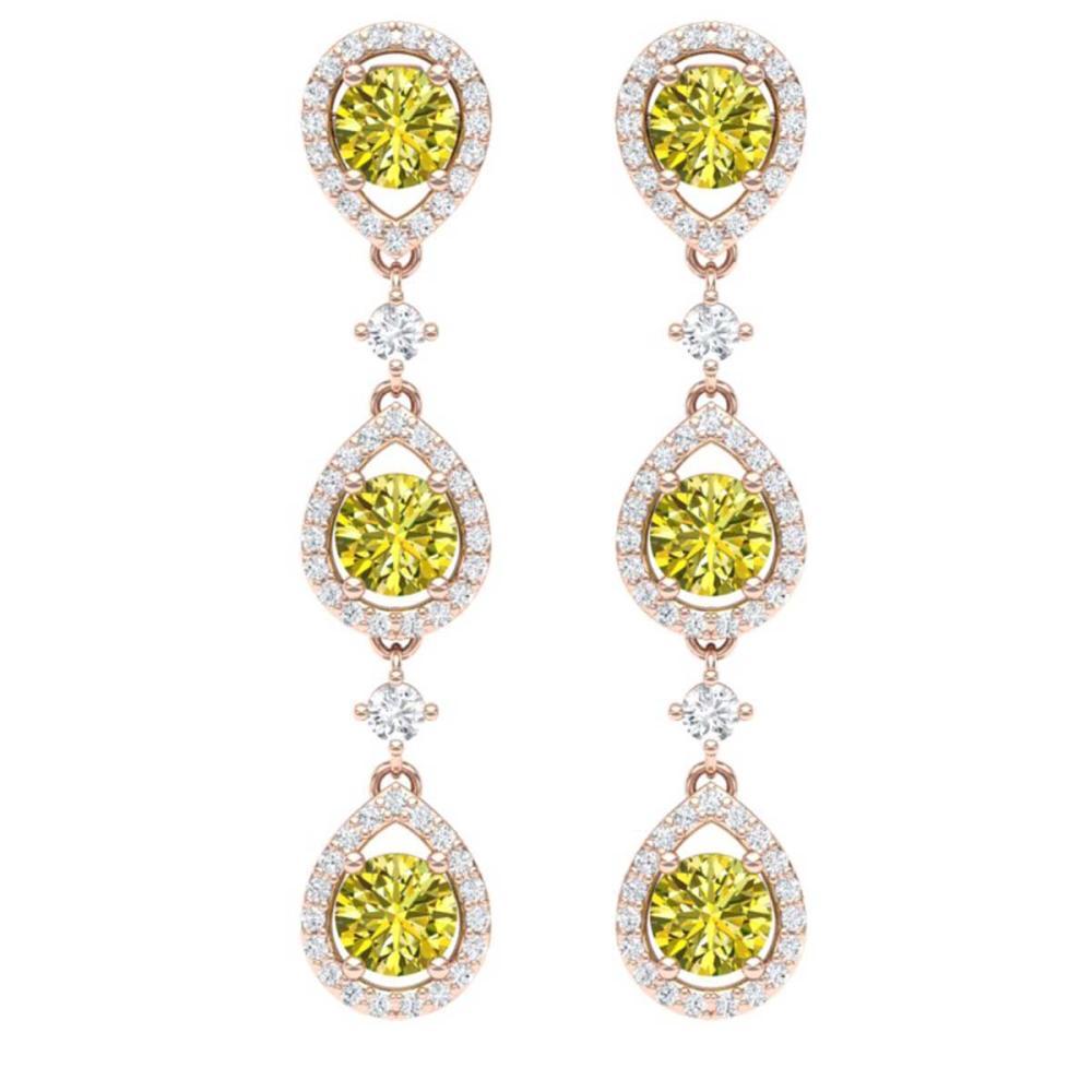 5.11 ctw Fancy Yellow SI Diamond Earrings 18K Rose Gold - REF-618A2V - SKU:39103