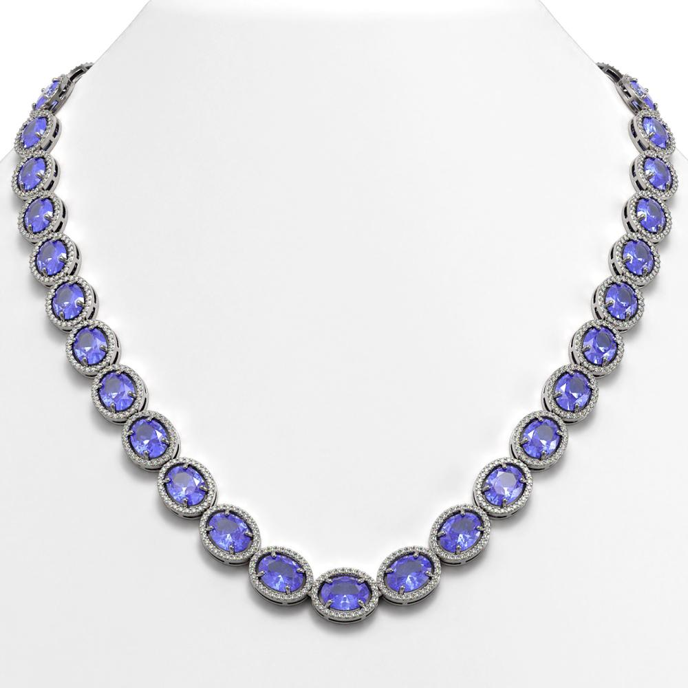62.99 ctw Tanzanite & Diamond Halo Necklace 10K White Gold - REF-1056F9N - SKU:40658