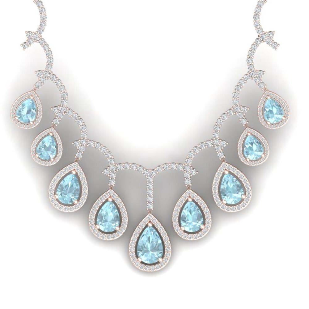 32.62 ctw Sky Topaz & VS Diamond Necklace 18K Rose Gold - REF-781V8Y - SKU:39355