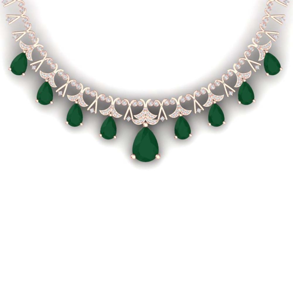 56.94 ctw Emerald & VS Diamond Necklace 18K Rose Gold - REF-1236X4R - SKU:38701