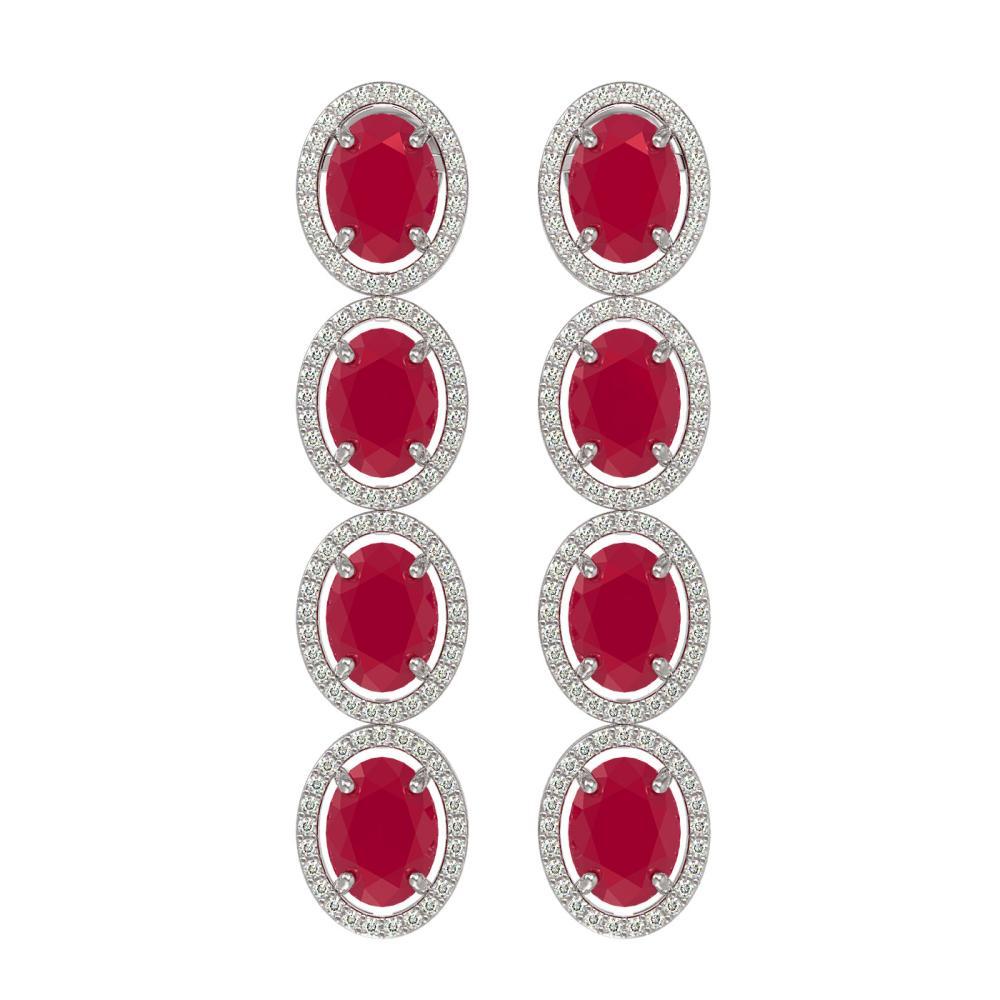 15.68 ctw Ruby & Diamond Halo Earrings White 10K White Gold - REF-227M3F - SKU:40748