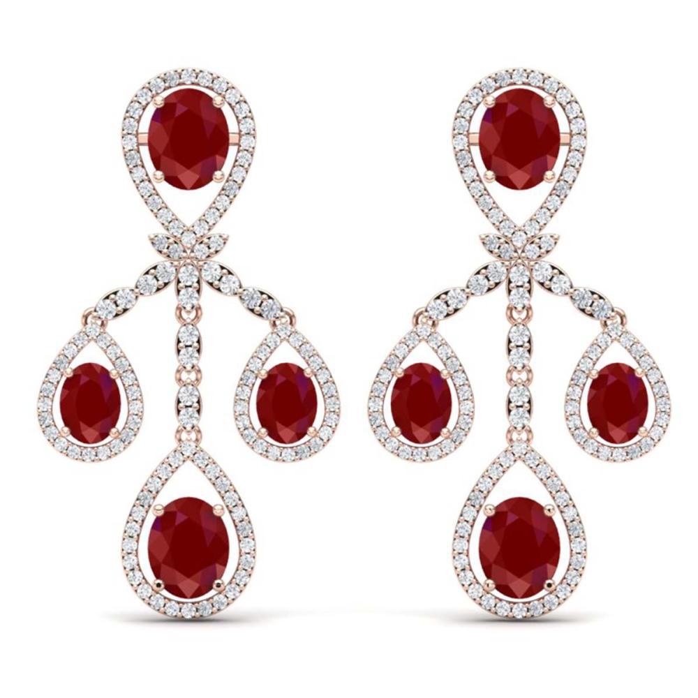 25.08 ctw Ruby & VS Diamond Earrings 18K Rose Gold - REF-490R9K - SKU:38575