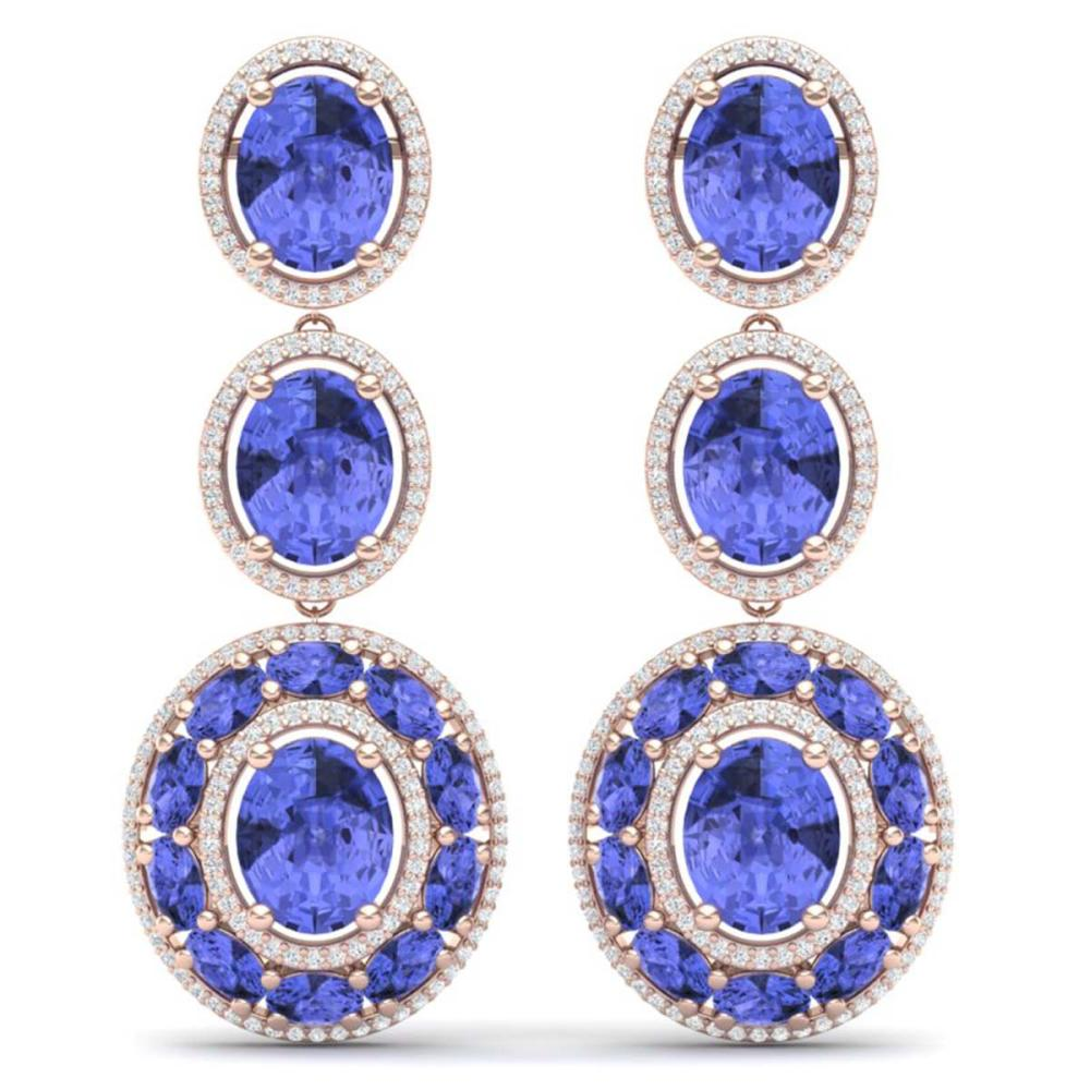33.72 ctw Tanzanite & VS Diamond Earrings 18K Rose Gold - REF-581W8H - SKU:39265