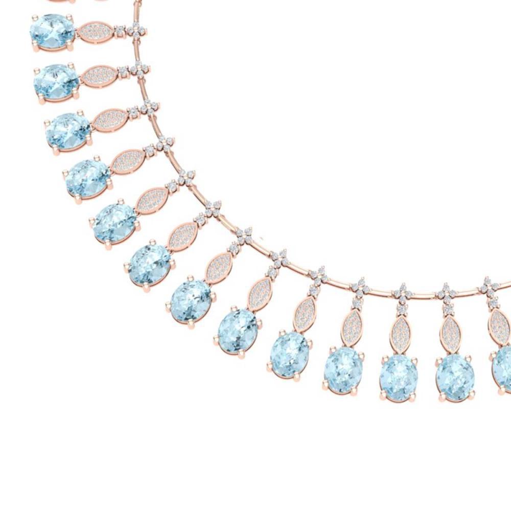 65.76 ctw Sky Topaz & VS Diamond Necklace 18K Rose Gold - REF-945Y5X - SKU:39133