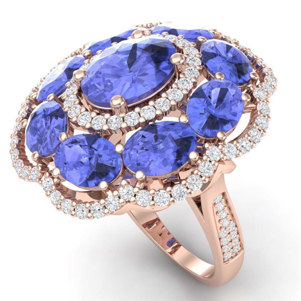 15.24 ctw Tanzanite & VS Diamond Ring 18K Rose Gold - REF-327K3W - SKU:39193