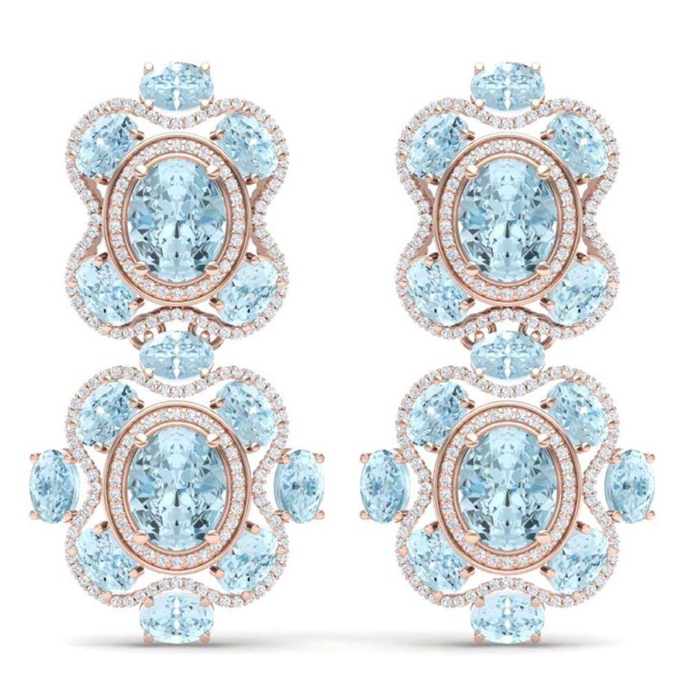 34.96 ctw Sky Topaz & VS Diamond Earrings 18K Rose Gold - REF-418M2F - SKU:39322