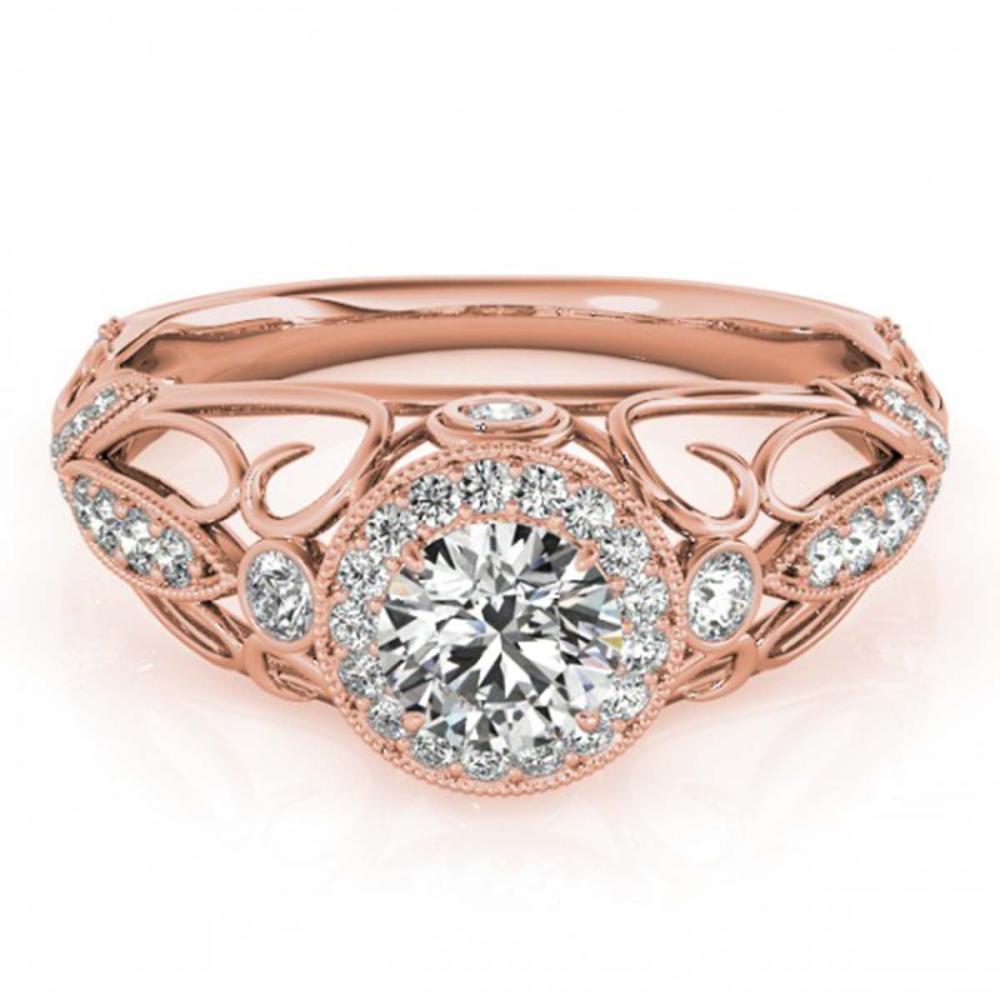 0.93 ctw VS/SI Diamond Ring 18K Rose Gold - REF-125W5H - SKU:27328