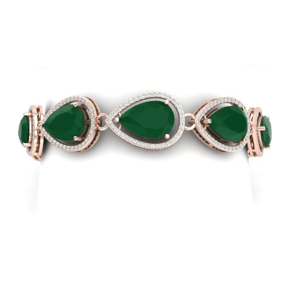 28.31 ctw Emerald & VS Diamond Bracelet 18K Rose Gold - REF-527X3R - SKU:39556