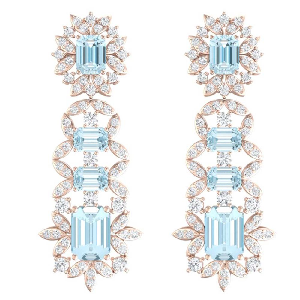 33.36 ctw Sky Topaz & VS Diamond Earrings 18K Rose Gold - REF-527R3K - SKU:39415