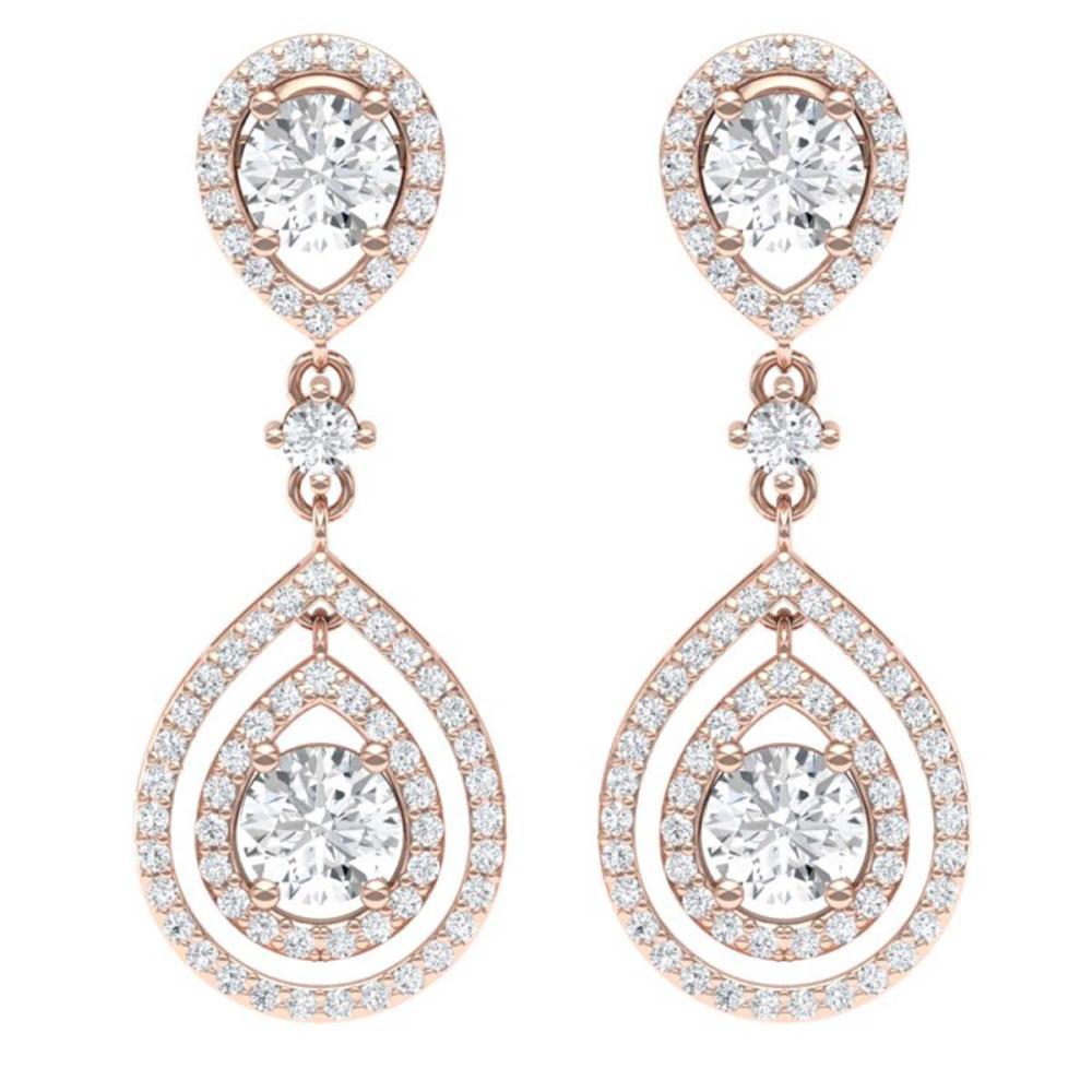 3.53 ctw VS/SI Diamond Earrings 18K Rose Gold - REF-418N2A - SKU:39109