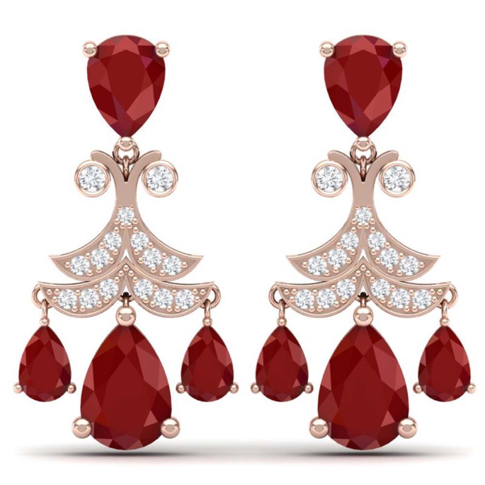 11.97 ctw Ruby & VS Diamond Earrings 18K Rose Gold - REF-176R4K - SKU:38719