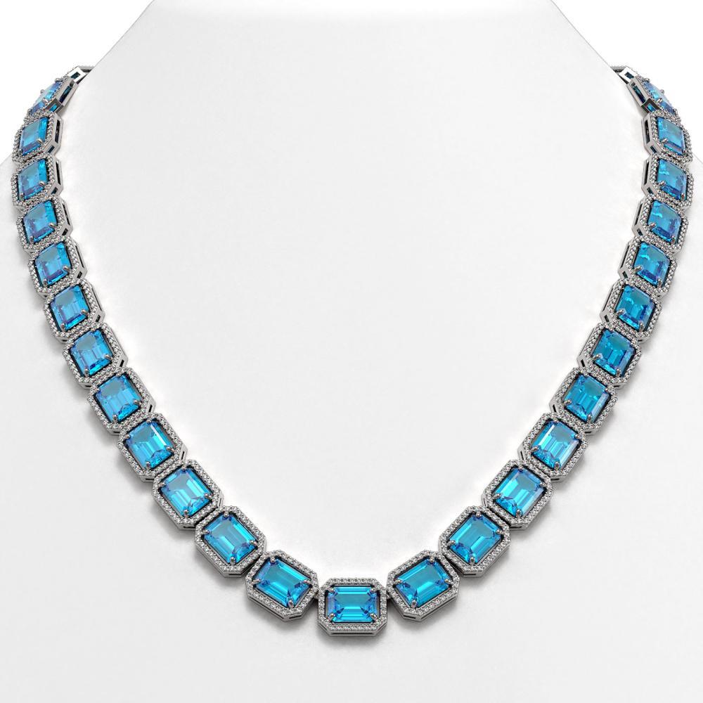 79.01 ctw Swiss Topaz & Diamond Halo Necklace 10K White Gold - REF-836N4A - SKU:41507