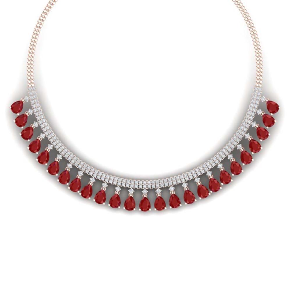 51.75 ctw Ruby & VS Diamond Necklace 18K Rose Gold - REF-1072Y7X - SKU:38875