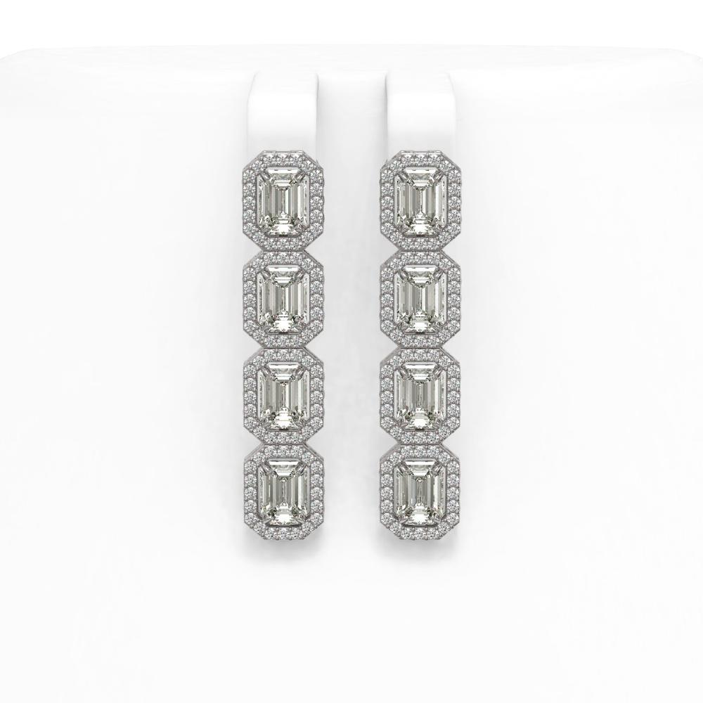 6.08 ctw Emerald Diamond Earrings 18K White Gold - REF-977F2N - SKU:42755