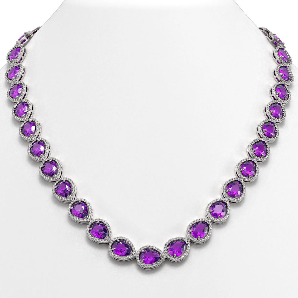 43.2 ctw Amethyst & Diamond Halo Necklace 10K White Gold - REF-603M3F - SKU:41225