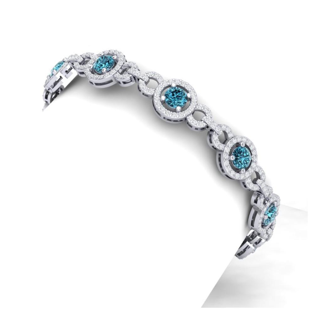 9 ctw SI/I Intense Blue And Diamond Bracelet 18K White Gold - REF-735V2Y - SKU:40088