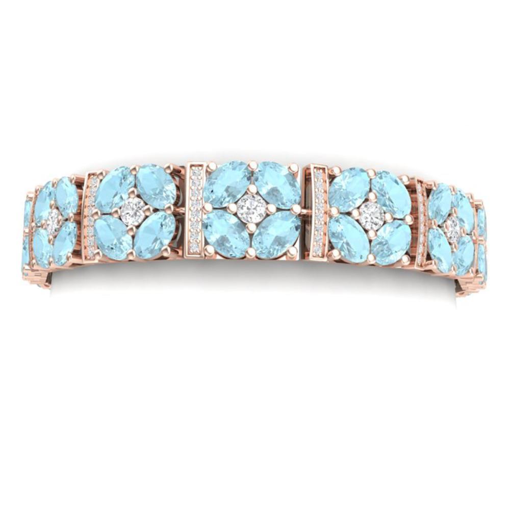 32.39 ctw Sky Topaz & VS Diamond Bracelet 18K Rose Gold - REF-690A9V - SKU:39025