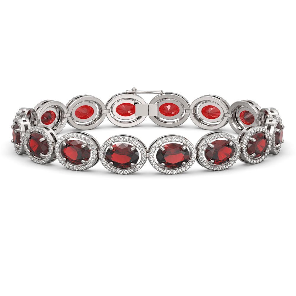 27.28 ctw Garnet & Diamond Halo Bracelet 10K White Gold - REF-262F9N - SKU:40742