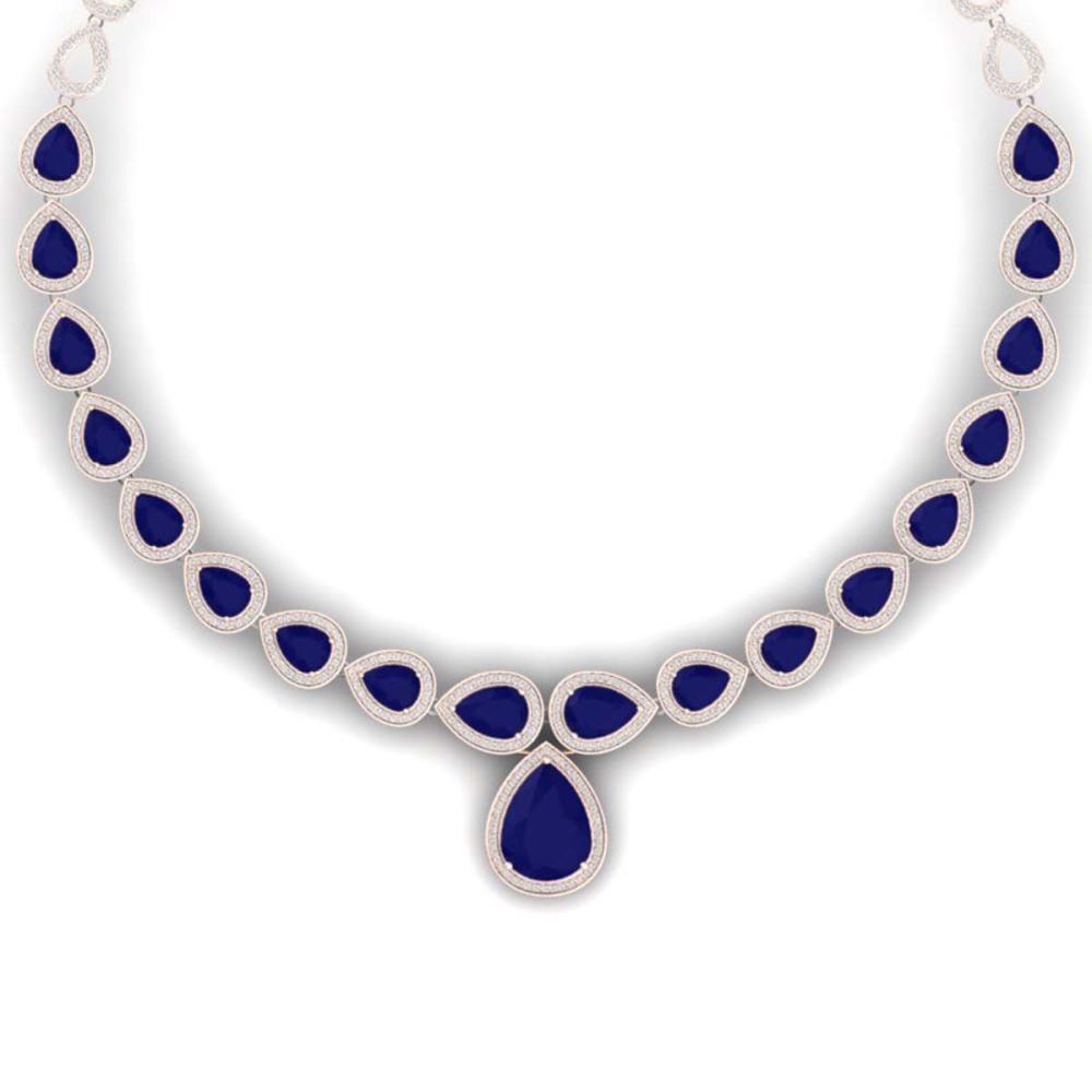 51.41 ctw Sapphire & VS Diamond Necklace 18K Rose Gold - REF-927K3W - SKU:39427