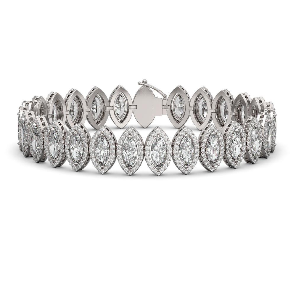 20.25 ctw Marquise Diamond Bracelet 18K White Gold - REF-2802X3R - SKU:42833