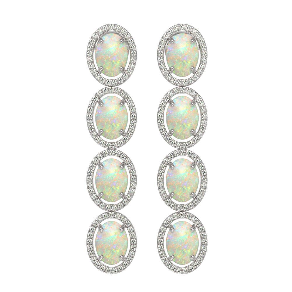 9.16 ctw Opal & Diamond Halo Earrings White 10K White Gold - REF-178K2W - SKU:40760
