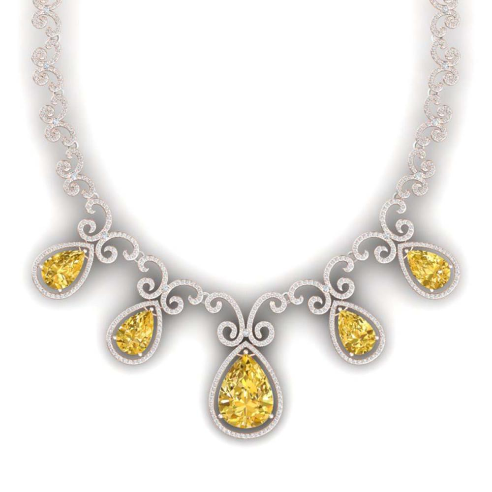 36.1 ctw Canary Citrine & VS Diamond Necklace 18K Rose Gold - REF-1022V7Y - SKU:39538