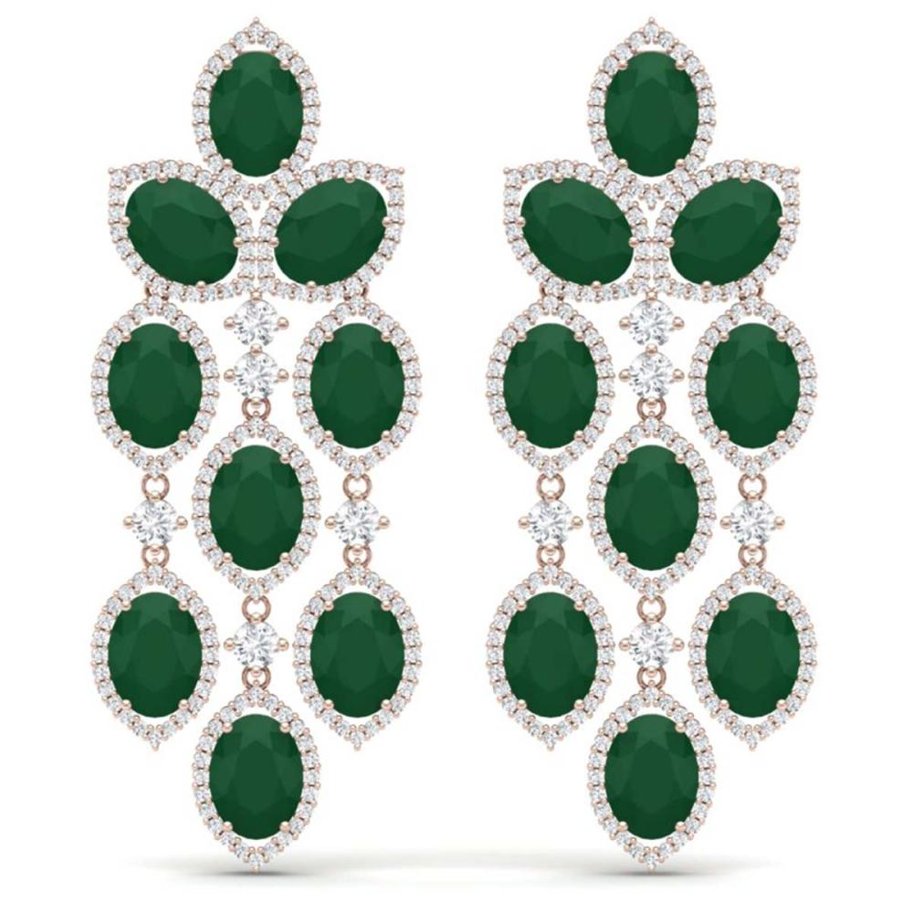 26.15 ctw Emerald & VS Diamond Earrings 18K Rose Gold - REF-527K3W - SKU:38923