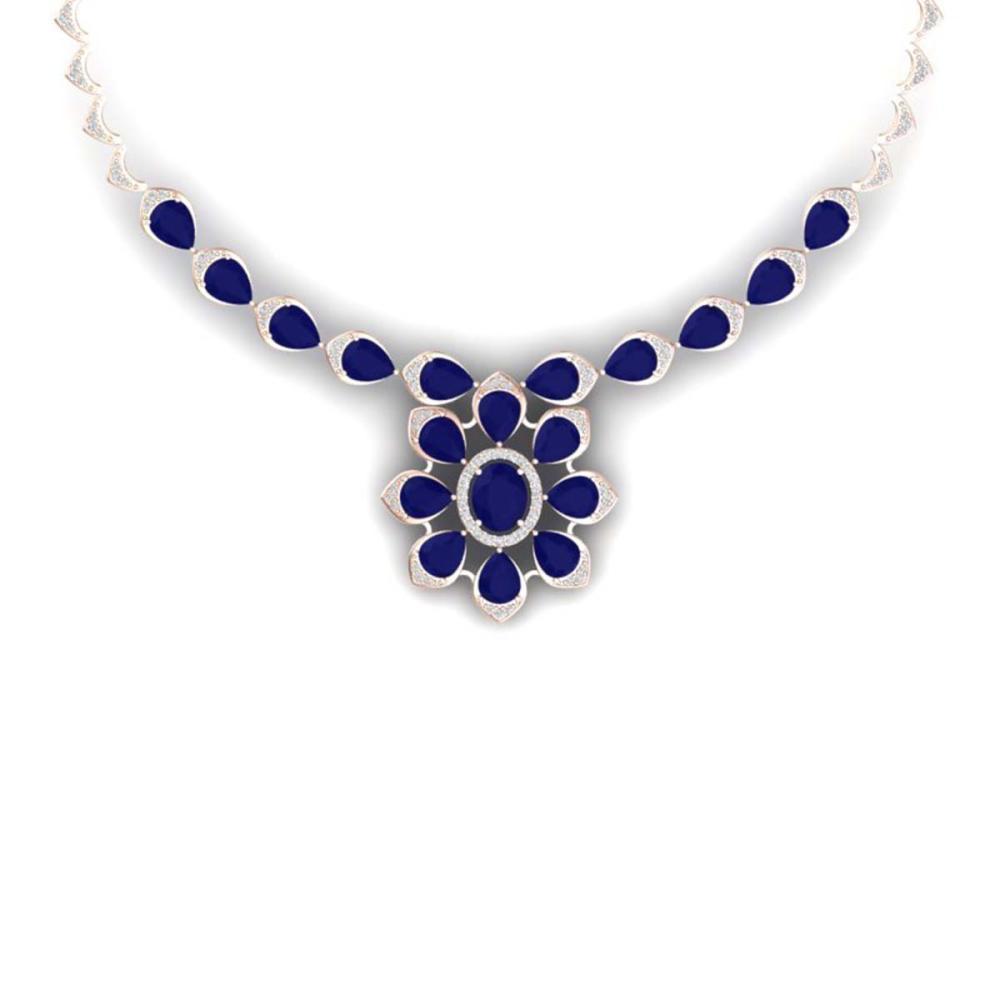 30.70 ctw Sapphire & VS Diamond Necklace 18K Rose Gold - REF-654H5M - SKU:39037