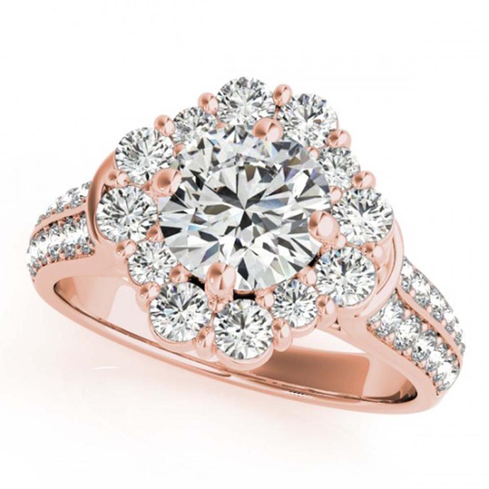 2.16 ctw VS/SI Diamond Halo Ring 18K Rose Gold - REF-346M4F - SKU:26710