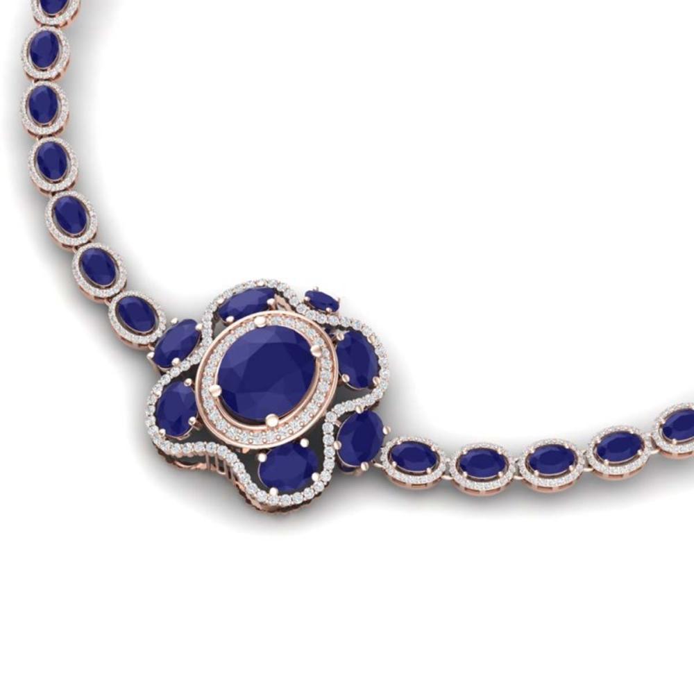 47.43 ctw Sapphire & VS Diamond Necklace 18K Rose Gold - REF-1072M7F - SKU:39334