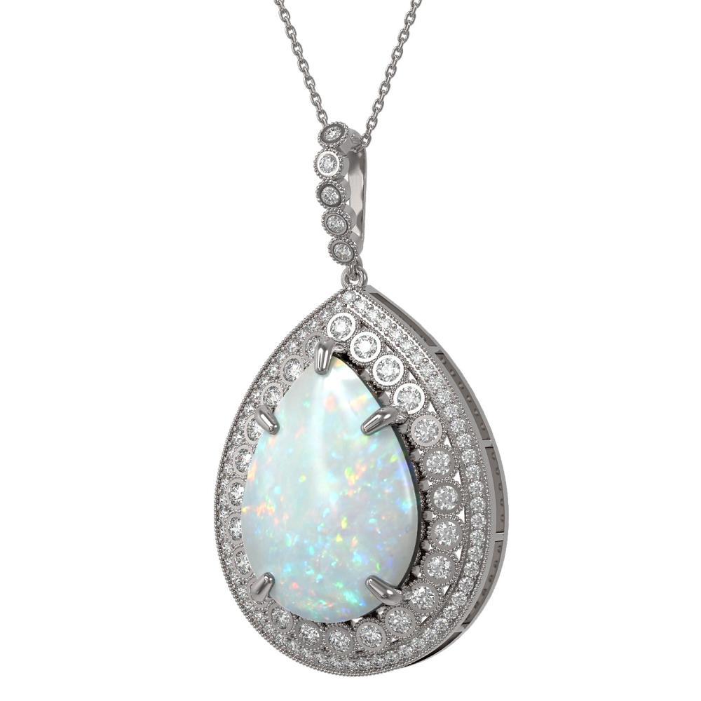 31.84 ctw Opal & Diamond Necklace 14K White Gold - REF-843K6W - SKU:43361