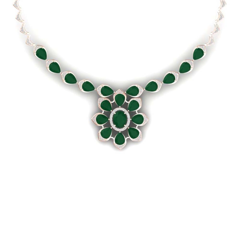 30.70 ctw Emerald & VS Diamond Necklace 18K Rose Gold - REF-654A5V - SKU:39031
