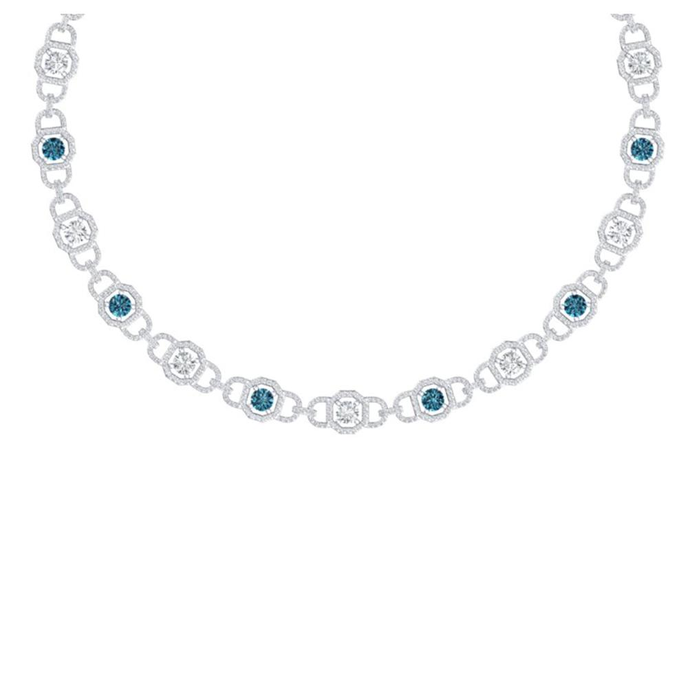 25 ctw SI/I Intense Blue And Diamond Necklace 18K White Gold - REF-2070F2N - SKU:40124