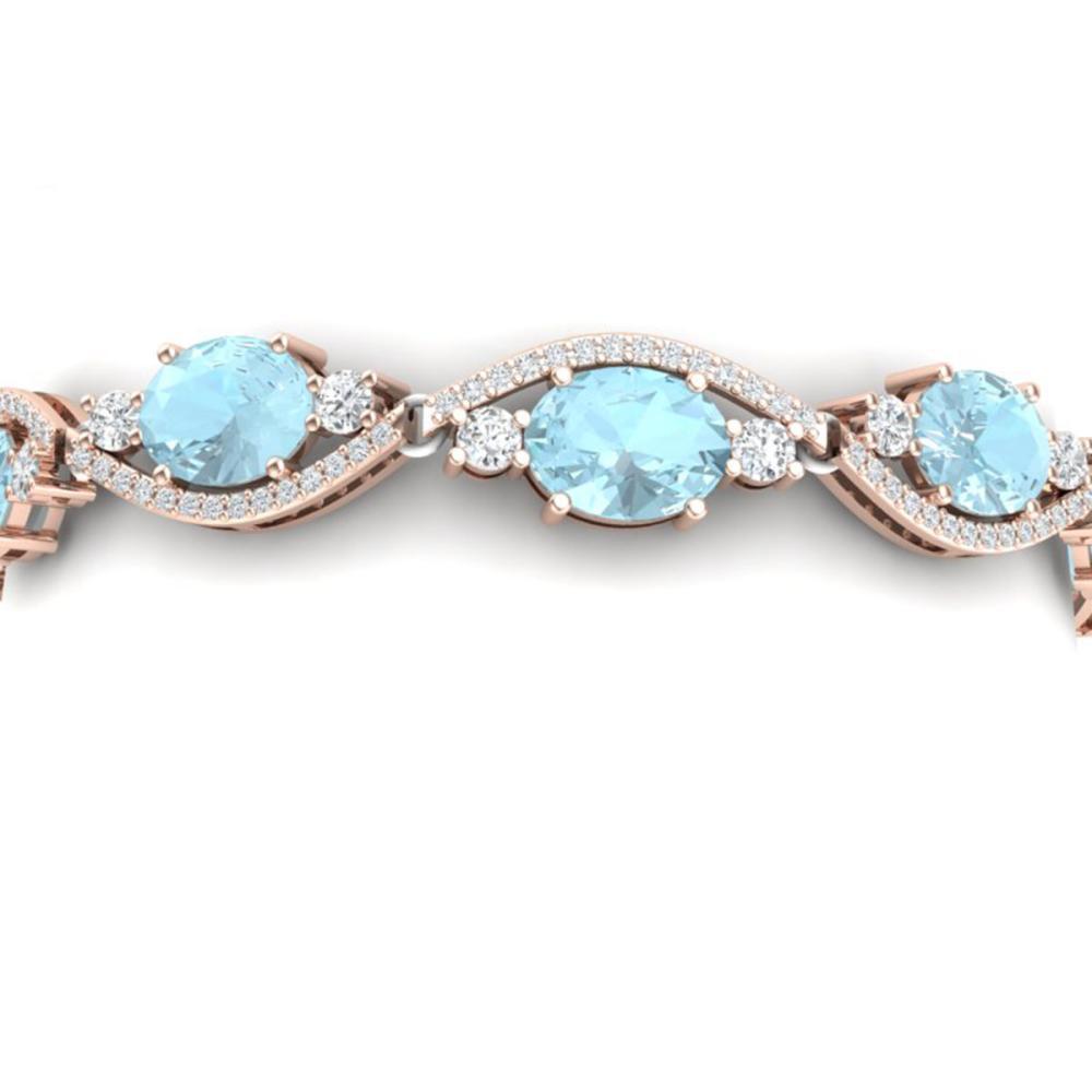 21.6 ctw Sky Topaz & VS Diamond Bracelet 18K Rose Gold - REF-327X3R - SKU:38971