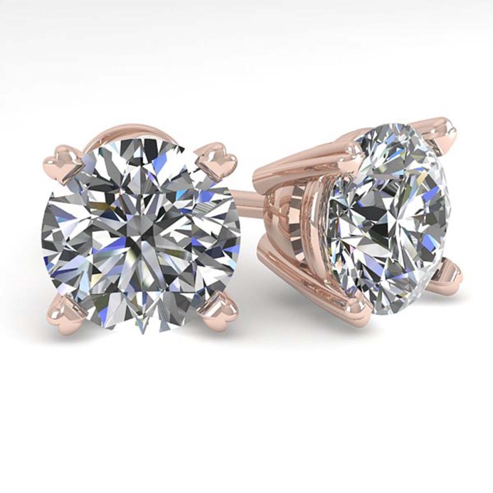 3 ctw VS/SI Diamond Stud Earrings 14K Rose Gold - REF-1013M4F - SKU:38379