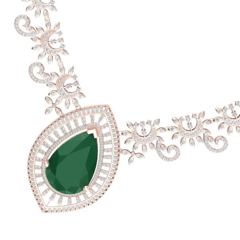 65.75 ctw Emerald & VS Diamond Necklace 18K Rose Gold - REF-1581X8R - SKU:39775