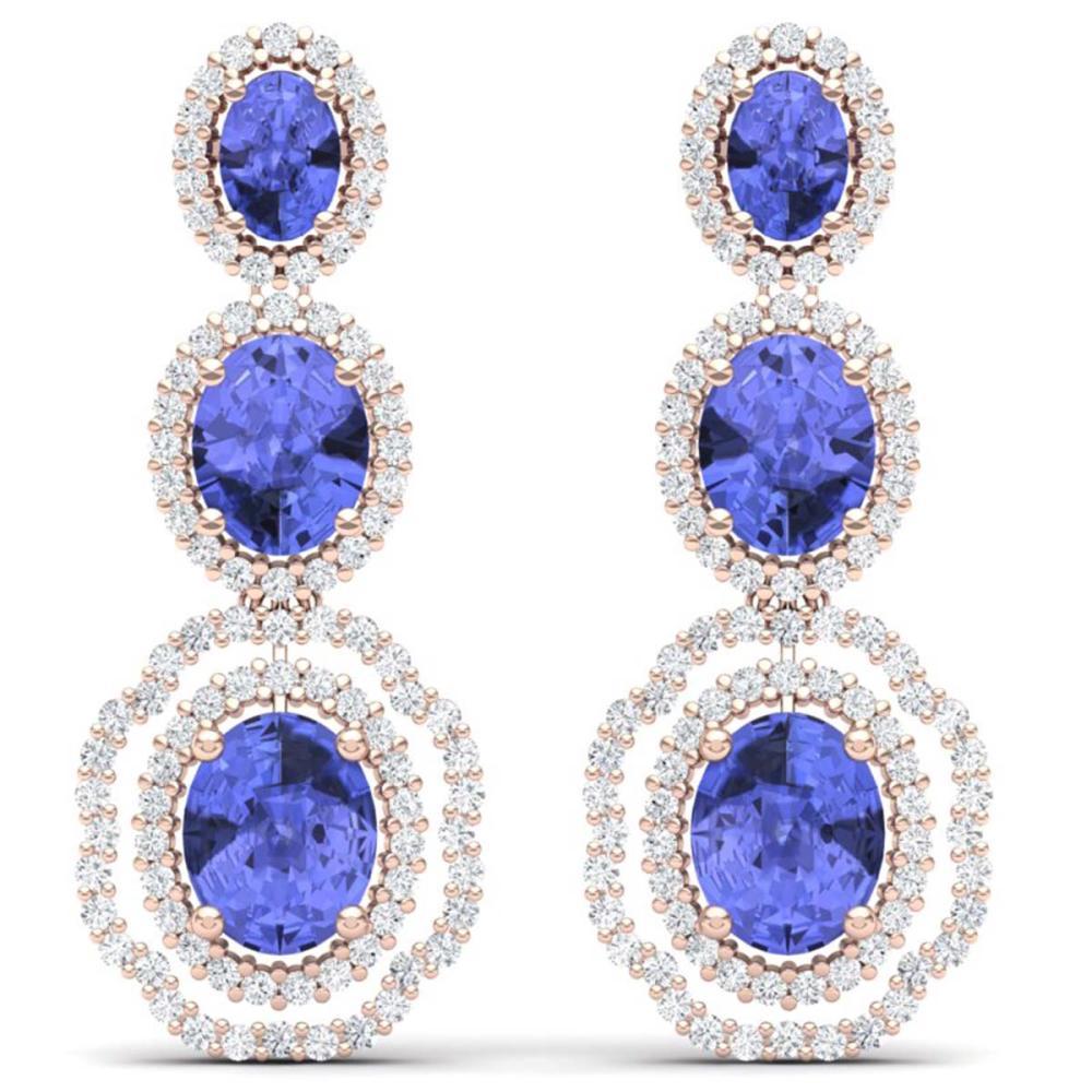 17.32 ctw Tanzanite & VS Diamond Earrings 18K Rose Gold - REF-418R2K - SKU:39211