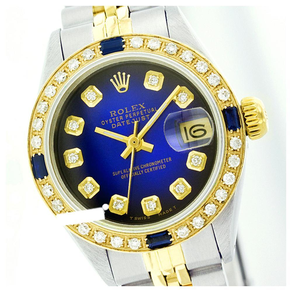 Rolex Men's Two Tone 14K Gold/SS, QuickSet, Diam Dial & Diam/Sapphire Bezel - REF-557A6N
