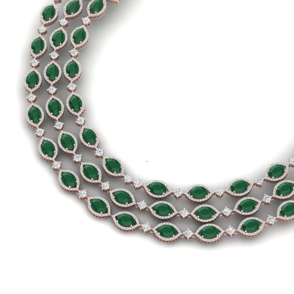 85.81 ctw Emerald & VS Diamond Necklace 18K Rose Gold - REF-1727K3W - SKU:38941