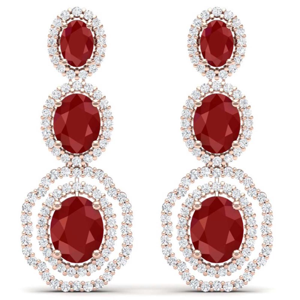 17.01 ctw Ruby & VS Diamond Earrings 18K Rose Gold - REF-381N8A - SKU:39205