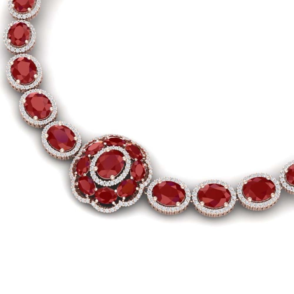 58.33 ctw Ruby & VS Diamond Necklace 18K Rose Gold - REF-1187Y3X - SKU:39223