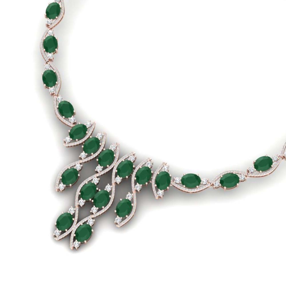 65.93 ctw Emerald & VS Diamond Necklace 18K Rose Gold - REF-1145V5Y - SKU:38995