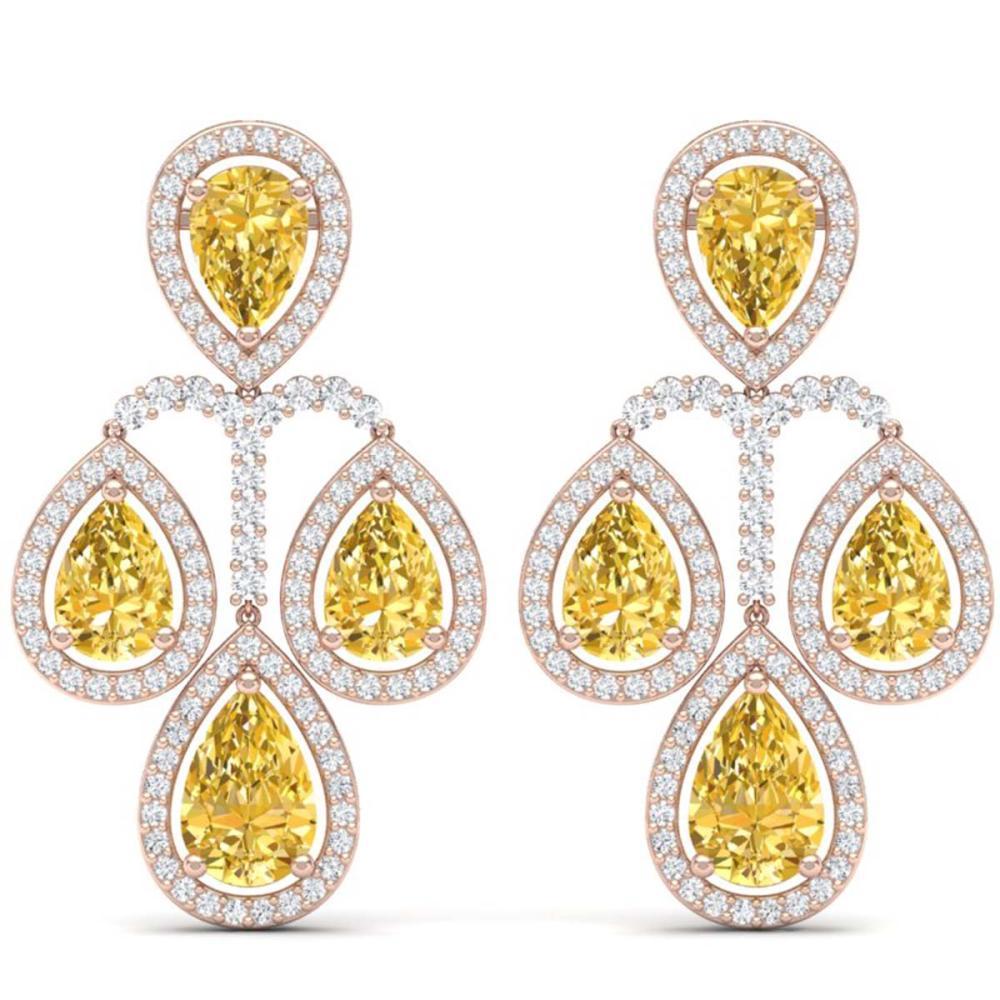 27.85 ctw Canary Citrine & VS Diamond Earrings 18K Rose Gold - REF-409F3N - SKU:39373
