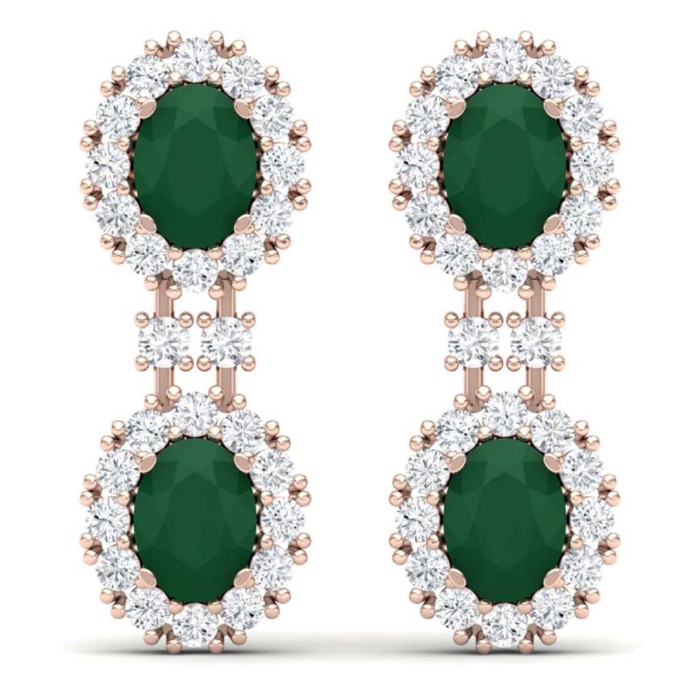 8.98 ctw Emerald & VS Diamond Earrings 18K Rose Gold - REF-218R2K - SKU:38809