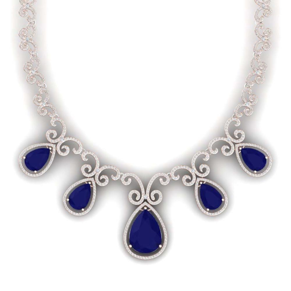 38.42 ctw Sapphire & VS Diamond Necklace 18K Rose Gold - REF-1109R3K - SKU:39532