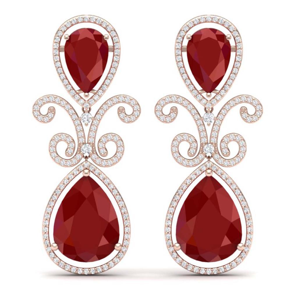 31.6 ctw Ruby & VS Diamond Earrings 18K Rose Gold - REF-445Y5X - SKU:39544