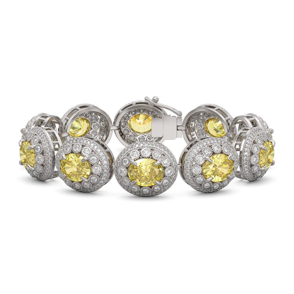 40.37 ctw Canary Citrine & Diamond Bracelet 14K White Gold - REF-1186K4W - SKU:43724