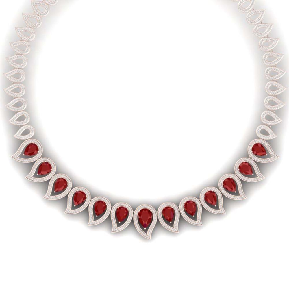 33.4 ctw Ruby & VS Diamond Necklace 18K Rose Gold - REF-1236H4M - SKU:39439