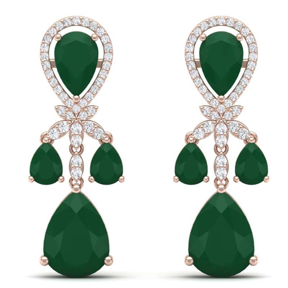 38.29 ctw Emerald & VS Diamond Earrings 18K Rose Gold - REF-454K5W - SKU:38605