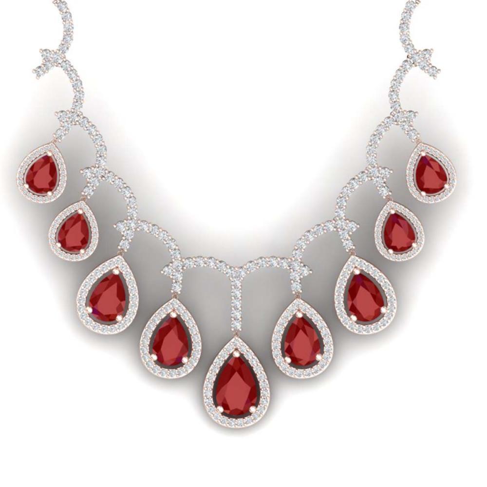 31.5 ctw Ruby & VS Diamond Necklace 18K Rose Gold - REF-872M7F - SKU:39349